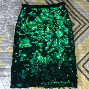 top shop sequence skirt  green multi color skirt